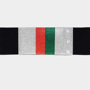 Wide Crystal Rhinestone Color Block Belt